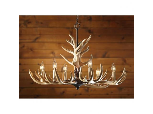 6 light whitetail antler chandelier northeast crown liquidators 6 light whitetail antler chandelier mozeypictures Choice Image
